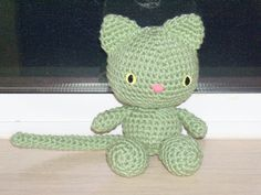 Playful Kitten  Frosty Green Crochet Cat Doll by BeyondCrochet Use coupon code: PIN10 for a 10% discount on all items.