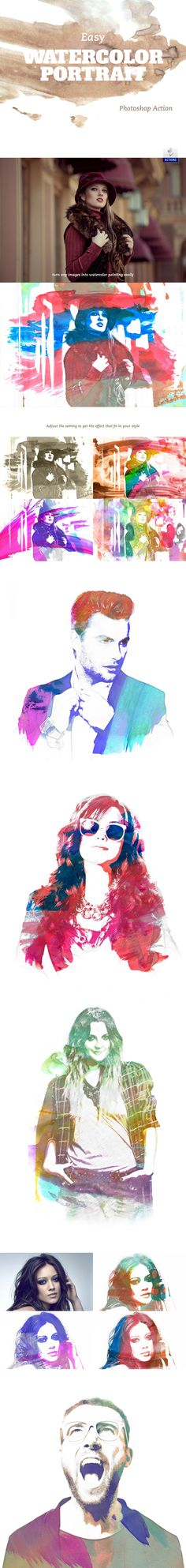 Free Action: Easy Watercolor Portrait (2.34 MB) | freedesignresources.net | #free #photoshop #action