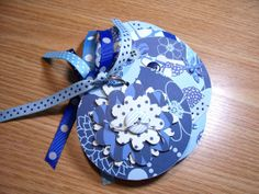 Blue Premade Mini Flower Scrapbook Album by HampshireRose on Etsy, $10.00