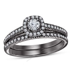1.00 CT White Round D/VVS1 Diamond 925 Silver Solitaire W/Accent Bridal Ring Set…