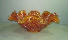 *CARNIVAL GLASS ~ Imperial Hobstar Marigold, Punch Bowl