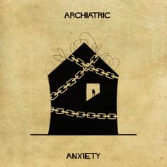 Ansiedad-Federico Babina acaba de lanzar un nuevo proyecto llamado Archiatric, en el que muestra 16 trastornos distintos como obras de arquitectura en varios estados de reparación. Los diseños son muy abstractos, pero para cualquiera que viva con la agonía de una enfermedad mental, verá que son muy acertados.