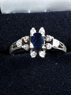 Sterling Silver Antique Dark Blue Gemstone CZ Cluster Cocktail Engagement Ring 7 #Cocktail