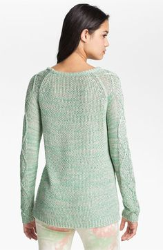 BP. Cable Sleeve Marled Sweater (Juniors) available at #Nordstrom