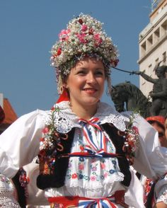 dancer in native costume, zagreb, croatia.  9-2006