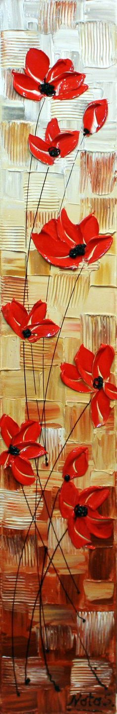 Original Abstract Poppy Painting Heavy Textured by natasartstudio