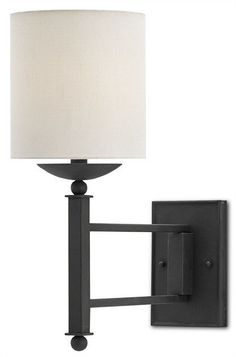 Buy the Currey and Company Black Bronze Direct. Shop for the Currey and Company Black Bronze Latchett Single Light Wrought Iron Wall Sconce with Off-White Linen Shade and save. Swing Arm Wall Sconce, Wall Sconce Lighting, Silver Walls, Modern Wall Sconces, Burke Decor, Fabric Shades, Wrought Iron, Wall Lights, House Styles