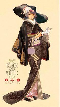 Black and White Dramatica Anime Art Girl, Manga Art, Anime Manga, Japan Illustration, Character Illustration, Female Character Design, Character Art, Kimono Fashion, Fashion Art