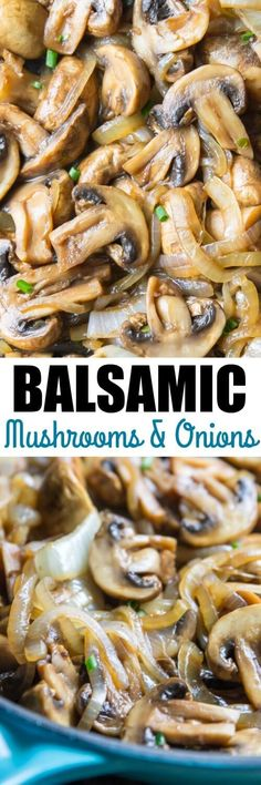 With just 3 ingredients and 10 minutes, whip up these easy Balsamic Mushrooms and Onions! A great topping for steak and chicken or an easy side dish. stuffed_mushrooms_with_cream_cheese, bread crumbs Mushroom Dish, Mushroom And Onions, Mushroom Recipes, Onion Recipes, Vegetable Recipes, Vegetarian Recipes, Healthy Recipes, Chicken Recipes, Salad Recipes