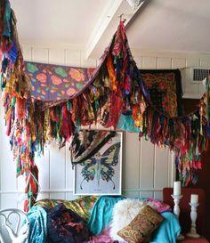 Boho Schlafzimmer Terrasse Überdachung Bohemian Hippie Vtg Bett Schals Gypsy Hippie Patchwork Meditation Garten Hochzeit Dekor Foto Stütze Backdrop Fringe