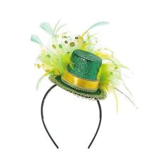 St. Patrick's Day Mini Feathered Top Hat Headband, Women's, Green ($12) ❤ liked on Polyvore featuring accessories, hats, green and halloween
