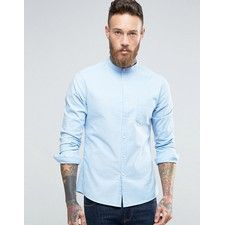Skinny Casual Oxford Shirt With Grandad Collar In Blue