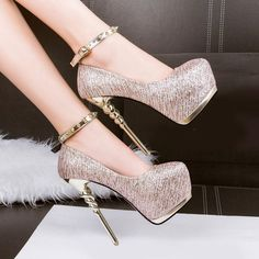 Sexy Women Shine Party Platform High Heels Stiletto Pumps Ankle Strap Court Shoe in Clothing, Shoes & Accessories, Women's Shoes, Heels High Heels Boots, Hot High Heels, Platform High Heels, Lace Up Heels, Ankle Strap Heels, High Heels Stilettos, Womens High Heels, Shoes Heels, Nude Shoes