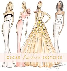 Red Carpet Fashion Sketches | 2015 Oscars