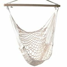 """Effortlessly lounge or curl up with your latest read in this charming hammock chair, woven from cotton.   Product: Hammock chairConstruction Material: Wood and ropeColor: NaturalFeatures: Weight capacity of 200 lbs Perfect to hang on your porch or a tree branchDimensions: 46"""" H x 39.25"""" W x 39.25"""" D"""