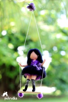 Fairy in black, party fairy, needle felted waldorf inspired , she is on the swing, wool felt