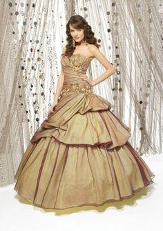 Ball Gown Sweetheart Strapless Floor-length in Taffeta Quinceanera Dress