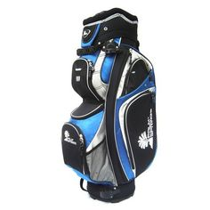 """Palm Springs Golf 14 Way Full Length Divider Cart Bag (Royal Blue/Silver) by Unknown. $80.28. 9.5"""" diameter 14 way padded top, 14 way full length dividers, exterior putter holder, 9 exterior zippered pockets, 1 Insulated cooler pocket, matching zippered rain hood, umbrella holder, external putter well, padded adjustable shoulder strap.  Lightweight & durable nylon construction.  All pockets are accessible while bag is on power or pull cart.  Color combination: Royal Blue/Si..."""