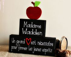 Teacher Christmas Gift - Personalized FrenchTeacher Gift - Teacher Wood Blocks Sign - End of School Year Teacher Gift Idea - Classroom Decor