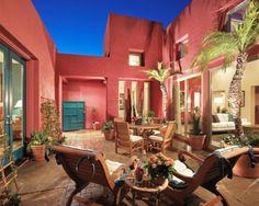 combinación colores: terracota (rosa) y azul-celeste