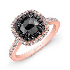 rose gold engagement ring | ... Rose Gold Double Halo Rose-cut black Diamond Center Engagement Ring