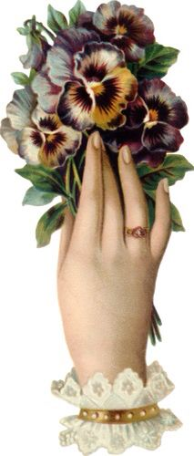 Hand with Blossoms, a Victorian die cut scrap