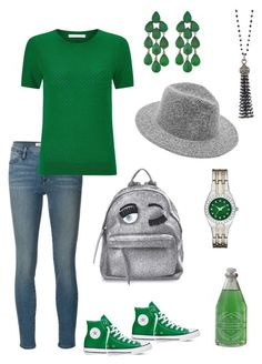 """Go Green"" by kayearnold on Polyvore featuring Frame Denim, HUGO, Converse, Chiara Ferragni, Siman Tu and Old Spice"