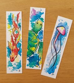 handmade ideas inspiration Marque-pages poisson méduse tortue Watercolor Bookmarks, Watercolor Cards, Watercolor Print, Watercolor Paintings, Watercolor Galaxy, Watercolor Drawing, Creative Bookmarks, Diy Bookmarks, Diy Marque Page