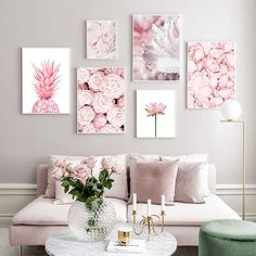 Pink Pineapple and Flowers Canvas Wall Art Pink Pineapple and Flowers Canvas Posters Living Room Art, Living Room Designs, Pink Living Rooms, Pink Home Decor, Pink Office Decor, Pink Room, Pink Walls, Flower Wall, Lotus Flower