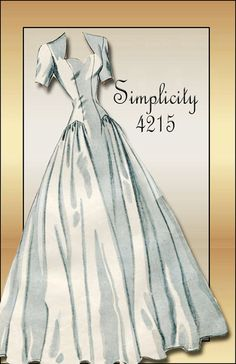 Sold || 1940s Dress Pattern Vintage Simplicity 4215 Wedding Gown with Sweetheart Neckline and Short Day Dress Size 12 Unused Factory Folded