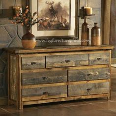 Pallet Furniture Projects Mountain Woods Furniture® Wyoming Collection™ Dresser - Welcome the courageous spirit of the west into your home. Every piece combines rare, never-the-same barnwood with regionally harvested woods. Dimensions: x x 21 Pallet Furniture Plans, Eco Furniture, Furniture Projects, Rustic Furniture, Wood Projects, Woodworking Projects, Western Furniture, Furniture Stores, Pallet Bedroom Furniture