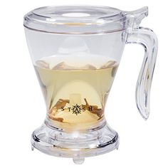 This streamlined tea maker is not only faster and easier--it's more fun! Simply measure your loose leaf tea into the clear, polycarbonate pitcher, add hot water, and watch as the leaves unfurl. To serve, set the pitcher on your mug. A pressure-activated dispenser pours right from the base, into your cup. With deep impressions scooped into each side and a wide, easy-grip handle, this brewer is attractive as it is practical. Permanent filter pops out for easy cleaning. Coaster included…