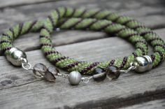 Handmade crocheted necklace - spiral pattern, magnetic clasp.