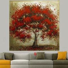 Hand Made Oil Painting On Canvas Tree Red Flower Oil Painting Wall Art for Living Room Decor