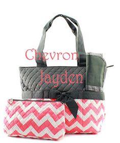 Monogram Gray And C Chevron Diaper Bag Baby Shower