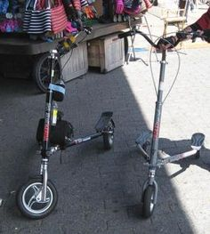 Trikke T12 on left, T78 on right. I want this!!!