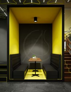 The modern fast food restaurant design features a striking semi-private booth wi. Yellow Restaurant, Fast Food Restaurant, Restaurant Restaurant, Black Interior Design, Yellow Interior, Interior Modern, Modern Restaurant Design, Dining Sofa, Yellow Walls