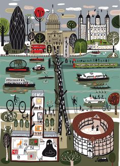 """Thames People & Tides"" by Melvyn Evans. View of St. Paul's, The Gherkin, The Tower from Southwark. Globe Theatre in foreground."