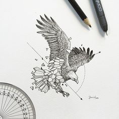 Finest Eagle Tattoo Designs And Concepts For Males and Girls With Meanings. Kunst Tattoos, Bild Tattoos, Geometric Drawing, Geometric Shapes, Geometric Animal, Geometric Tattoo Eagle, Hirsch Tattoo, Eagle Tattoos, Geniale Tattoos