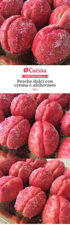 Pesche dolci con crema e alchermes Delicious Desserts, Dessert Recipes, Yummy Food, Italian Pastries, Candy Cakes, Italian Cookies, English Food, Easter Recipes, Cakes And More