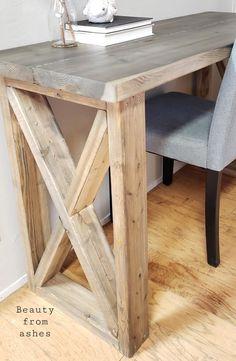 "Desk featuring ""X"" legs - farmhouse style Diy Wood Desk, Rustic Desk, Wooden Desk, Diy Desk, Desk Plans Diy, Rustic Office Desk, White Wood Desk, Farmhouse Table Legs, Farmhouse Furniture"