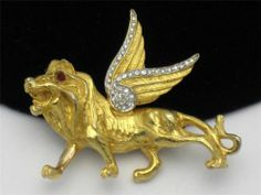 Vintage MIMI Di N Brooch Mythological Flying Lion Goldplated Pin RARE