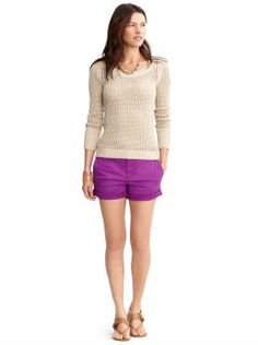 Cute, relaxed weekend look (like the pop of color with a neutral open weave sweater).