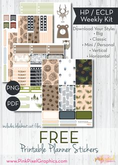 Free Printable Woodsy Winter Planner Stickers www.pinkpixelgraphics.com {subscription required}