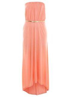 Coral Bandeau Dippy Maxi Dress