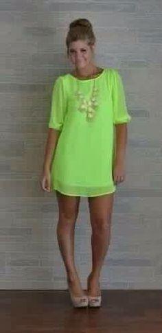 Vestido corto color verdes neón