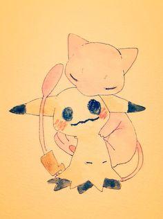 Mimikyu and Mew Pokemon Mew, Pokemon Gijinka, Pokemon Pins, Pokemon Comics, Pokemon Funny, Pikachu, Pokemon Stuff, Eevee Cute, Ghost Type Pokemon
