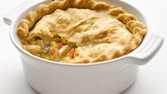 I am always looking for great recipes to share. Here is a healthy twist on a classic that has 52% fewer calories 80% less sat fat 76% less fat than the original chicken pot pie recipe.