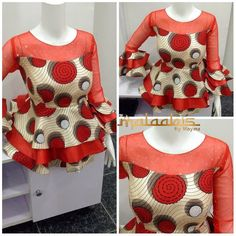 Ankara peplums are so in! Kano based fashion designer Maymunah Anka of MALAABIS_BY_MAYMZ shows more of very stylish and elegant about Ankara peplum tops. And yes to the ruffle and… African Fashion Ankara, Latest African Fashion Dresses, African Print Dresses, African Print Fashion, African Dress, African Blouses, African Tops, African Women, African Attire