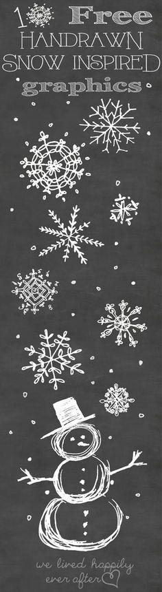 Sneeuwvlokken krijtbord